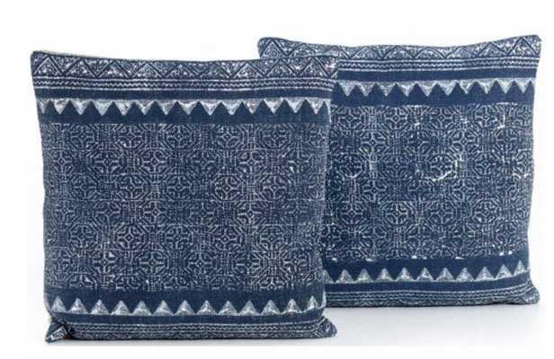 Tribal Print Pillow, Indigo (Set of two) - High Fashion Home