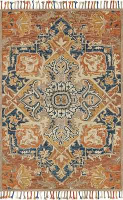"ZHARAH Rug RUST / BLUE 7'-9"" x 9'-9"" - Loma Threads"