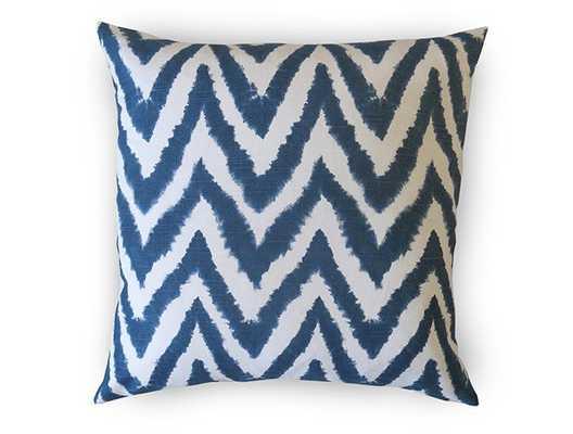 "Shibori Chevron Pillow Cover - Indigo Navy, 18""sq. no insert - Willa Skye"