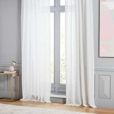 "Candlewick Dot Curtain, Stone White, 48""X84"" - West Elm"