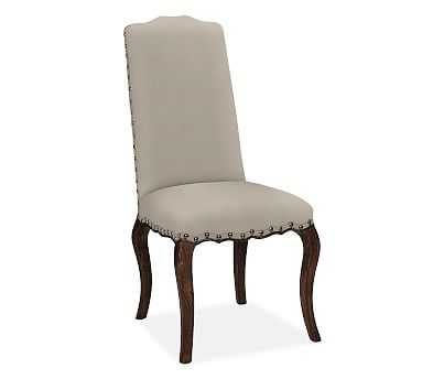 Calais Upholstered Dining Side Chair Espresso Stained Frame, Washed Canvas Stone - Pottery Barn