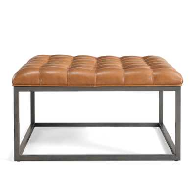 Healy Brown Leather Tufted Ottoman - Overstock