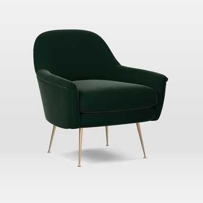 Phoebe Chair, Astor Velvet - Evergreen - West Elm