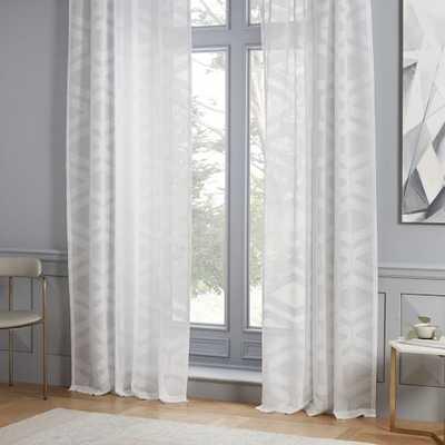 "Semi-Sheer Clipped Jacquard Curtain - Stone White - 96"" - West Elm"