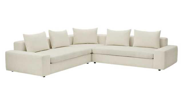 arlo 3-piece iron snow wide arm sectional sofa - CB2