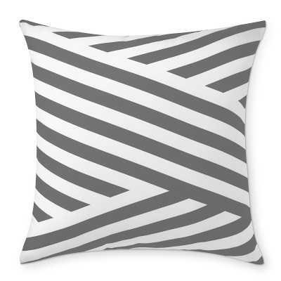 "Outdoor Printed Marlo Stripe Pillow, 22"" X 22"", Gray - Williams Sonoma"