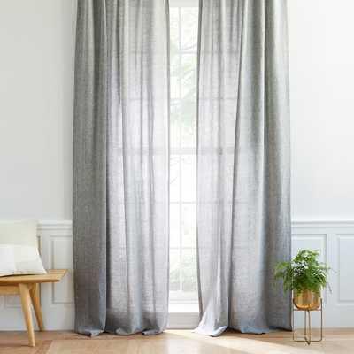 "Semi-Sheer Belgian Flax Linen Melange Curtain - Slate,84"" - West Elm"