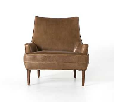 Reyes Leather Armchair, Polyester Wrapped Cushions, Burnished Saddle - Pottery Barn
