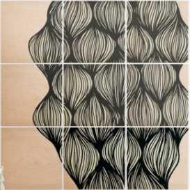 """WAVES"" Wood Wall Mural - 5'X5' (nine 20"" wood squares) - Wander Print Co."