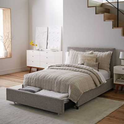 Contemporary Upholstered Storage Bed - Deco Weave, Queen - West Elm