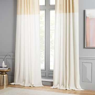 "Belgian Linen Contrast Stripe Curtain, Stone White/Horseradish, 48""x108"" - West Elm"