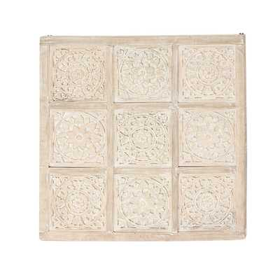 36 in. x 36 in. Carved Floral Tiles Wooden Wall Art - Home Depot