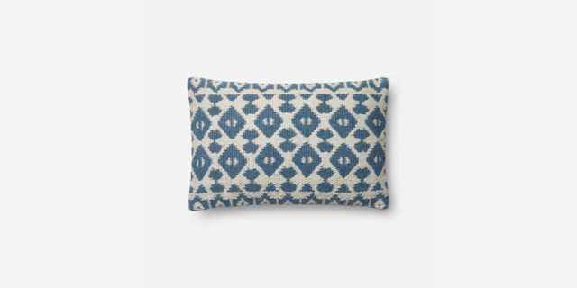 """P1064 MH NAVY / IVORY Pillow - 13"""" x 21"""" - Poly Insert - Loma Threads"""