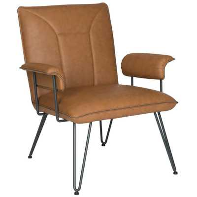 Johannes Camel Leather Arm Chair - Arlo Home