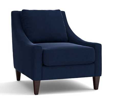 Aiden Upholstered Armchair, Navy - Pottery Barn