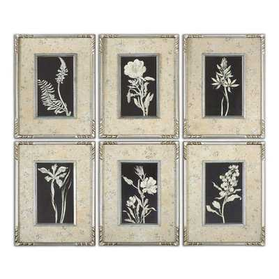 """""""""""""""Glowing Florals"""""""" by Grace Feyock 6 Piece Framed Graphic Art Set"""" - Hudsonhill Foundry"""