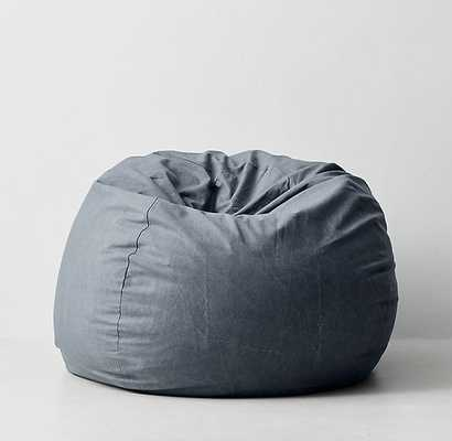 DISTRESSED CANVAS BEAN BAG COVER - GREY - RH