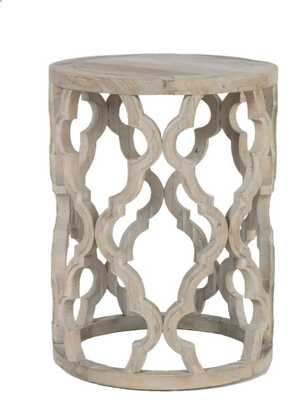 Bella Antique Clover Smoke Gray Wood End Table - Lamps Plus
