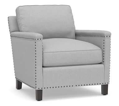 Tyler Upholstered Armchair with Bronze Nailheads, Down Blend Wrapped Cushions, Brushed Crossweave Light Gray - Pottery Barn
