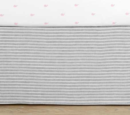 Montauk Belgian Flax Linen Baby Bedding- Crib Skirt - GRAY (stripe) - Pottery Barn Kids