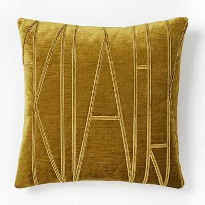 """Velvet Applique Pillow Cover, 20""""x20"""", Gold - West Elm"""