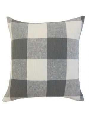 "Amory Plaid Pillow Coal, 18"" x 18""-Polyester Insert - Linen & Seam"