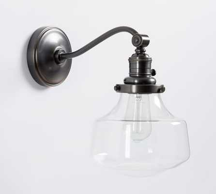 PB CLASSIC CURVED ARM SCONCE- SCHOOLHOUSE GLASS - Pottery Barn
