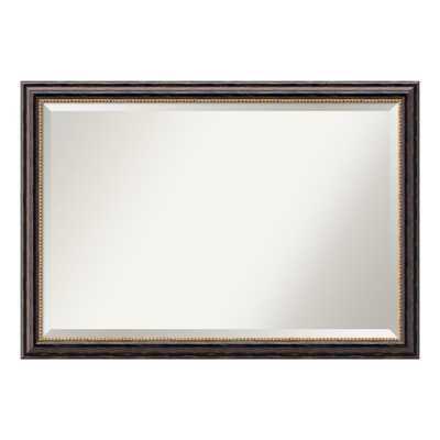 Tuscan Rustic Distressed Black Wood 40 in. W x 28 in. H Single Bathroom Vanity Mirror - Home Depot