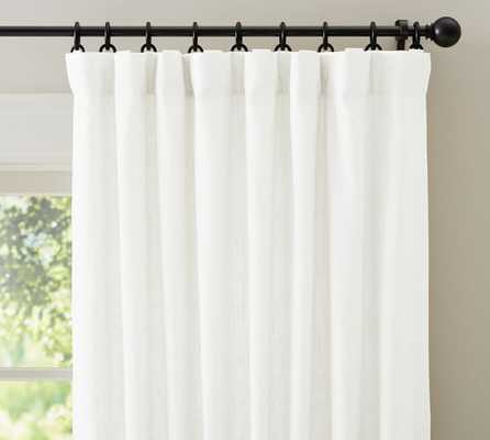 EMERY LINEN/COTTON POLE-POCKET DRAPE - WHITE - Cotton Lining - Double Width - Pottery Barn