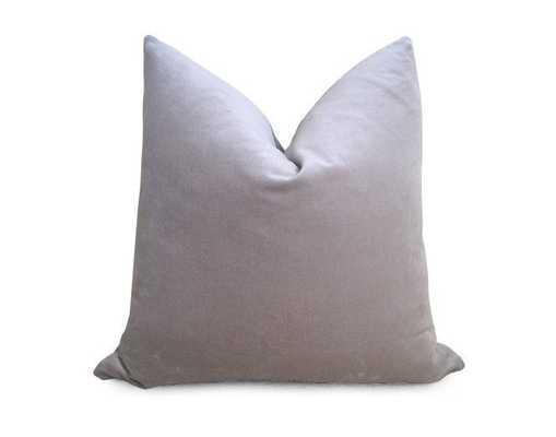 "Cotton Velvet Pillow Cover - Silver Gray,  18"" x 18"", No Insert - Willa Skye"