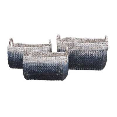 Cascade Woven Water Hyacinth Baskets - Set of 3 - Mercer Collection