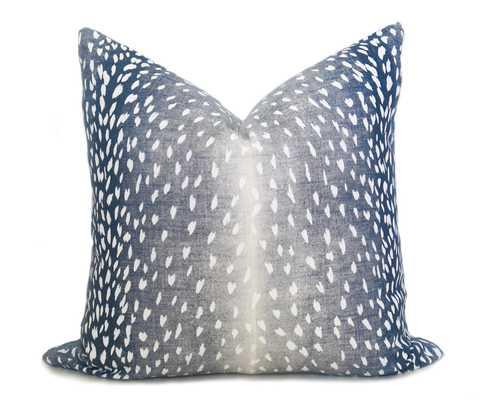 """Antelope Pillow Cover - Navy Denim - 20"""" x 20"""" - insert not included - Willa Skye"""