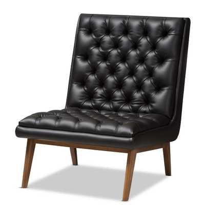 BAXTON STUDIO ANNETHA MID-CENTURY MODERN BLACK FAUX LEATHER UPHOLSTERED WALNUT FINISHED WOOD LOUNGE CHAIR - Lark Interiors