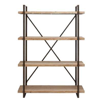 Distressed Wood Open Bookcase - Home Depot