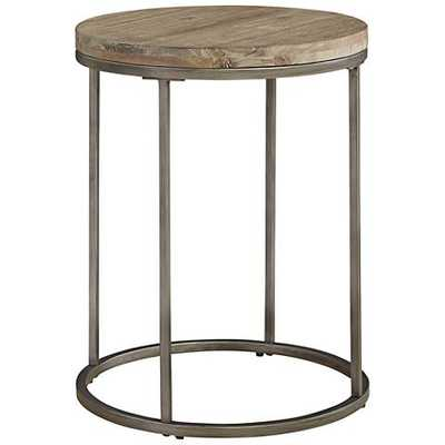 Alana Steel and Acacia Wood Top Round End Table - Lamps Plus