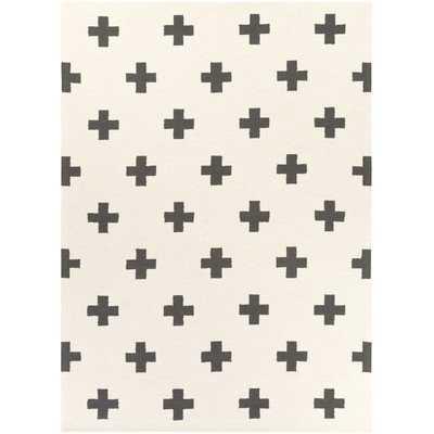 Hilda Monica Hand-Crafted White/Black Area Rug - Neva Home