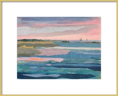 "Sunset Stripes I - 16"" x 20"" - Frosted gold metal frame - Artfully Walls"