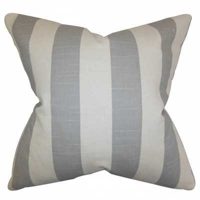 "Acantha Stripes Pillow Gray - 20"" x 20"" (Down Insert) - Linen & Seam"