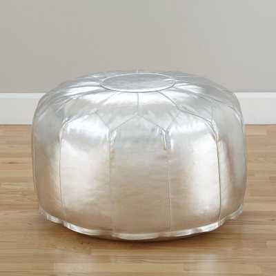 Faux Leather Silver Pouf - Crate and Barrel