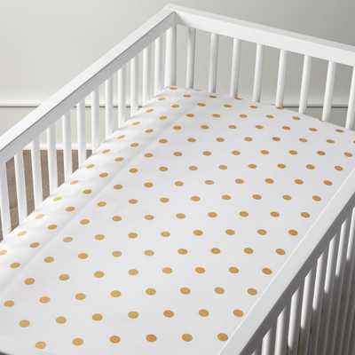 Organic Gold Dot Crib Fitted Sheet - Crate and Barrel