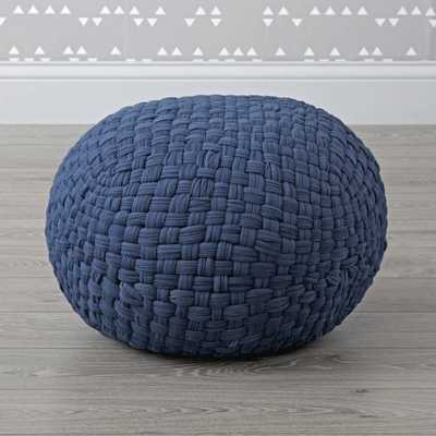 Woven Navy Pouf - Crate and Barrel