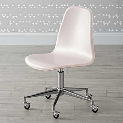 Kids Class Act Pink and Silver Desk Chair - Crate and Barrel