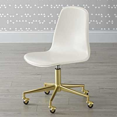 Kids Class Act White and Gold Desk Chair - Crate and Barrel