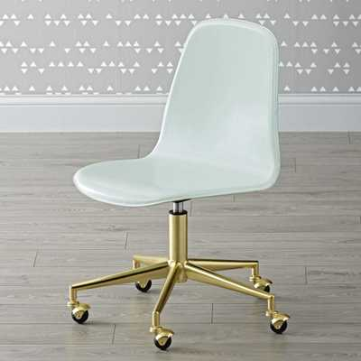 Kids Class Act Mint and Gold Desk Chair - Crate and Barrel