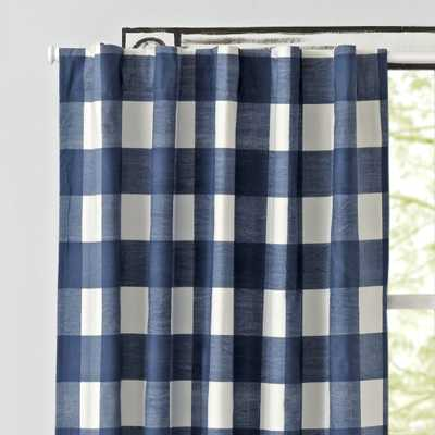 """Blue Buffalo Check 96"""" Blackout Curtain - Crate and Barrel"""