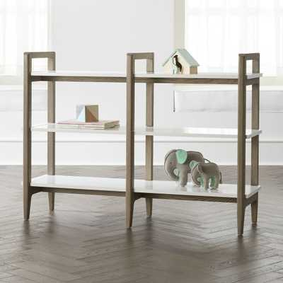 Wrightwood Wide Grey Stain and White Bookcase - Crate and Barrel