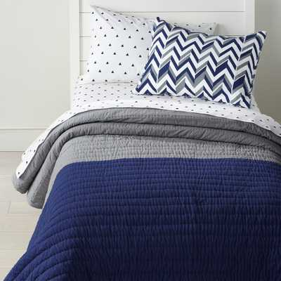 Little Prints Blue Full-Queen Quilt - Crate and Barrel