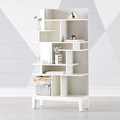 Maze Tall White Geometric Bookcase - Crate and Barrel