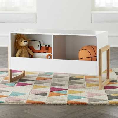 Level Up White 2-Bin Stackable Toy Box - Crate and Barrel