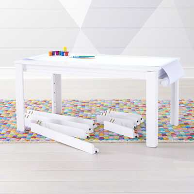 Complete Large Adjustable White Kids Table Set - Crate and Barrel